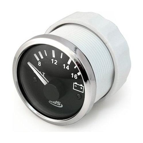 Вольтметр аналоговый 8-16 В, черный циферблат, нержавеющий ободок, д. 52 мм
