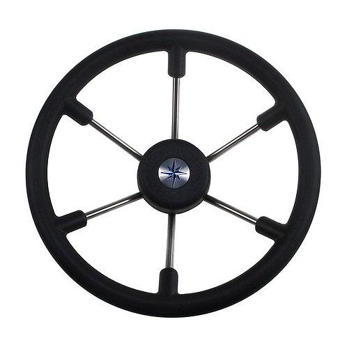 Рулевое колесо LEADER TANEGUM черный обод серебряные спицы д. 360 мм