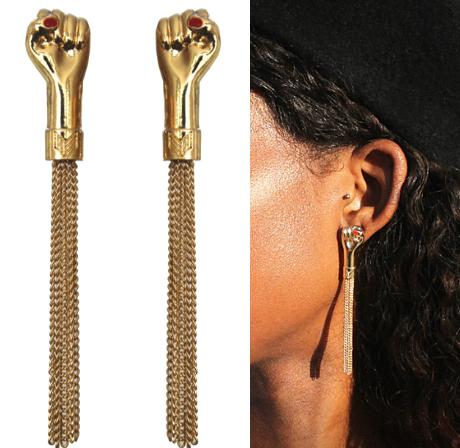 Fist Up Tassle Earrings- Melody Eshani