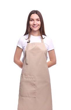 Young woman in apron isolated on white b