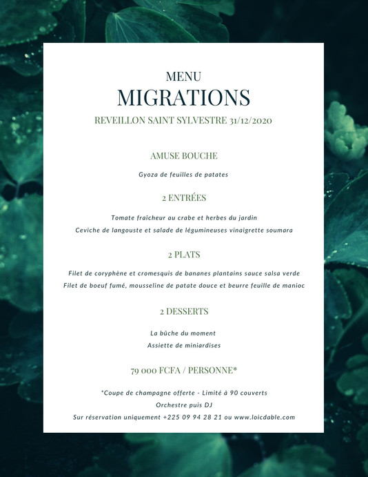 MENU RÉVEILLON SAINT SYLVESTRE 31/12/2020 RESTAURANT MIGRATIONS