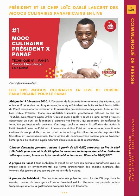 Communiqué de presse Panaf Président Loïc Dablé : Moocs culinaires panafricains