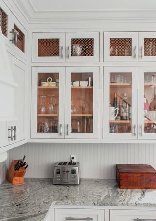 Framed white cabinets