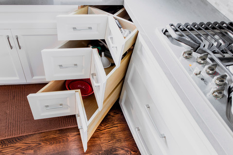 White Cabinets Corner Drawers