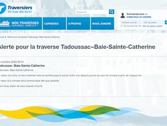 Bris à la traverse Tadoussac - Baie-Ste-Catherine