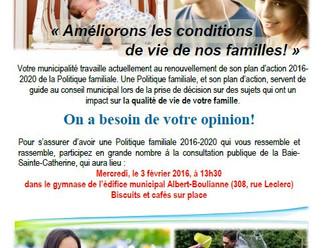 Politique familiale – Renouvellement du plan d'action 2016-2020 « Améliorons les conditions de vie d
