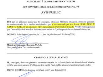 AVIS PUBLIC - Fermeture de l'Hôtel de Ville - Fêtes nationales Québec & Canada