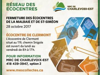 Fermeture prochaine du réseau des écocentres de Charlevoix-Est (saison hivernale)