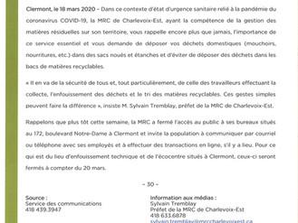 COVID-19  LA GESTION DES MATIÈRES RÉSIDUELLES