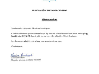 Mémorandum - Séance du Conseil municipal - 3 juin 2019