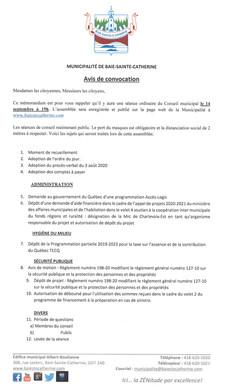 Avis Public - Séance du Conseil municipal du 14 septembre 2020