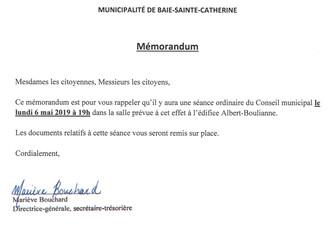 Mémorandum - Séance du Conseil municipal