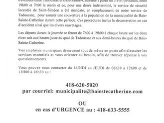 Société des traversiers du Québec - Arrêt des services de nuit
