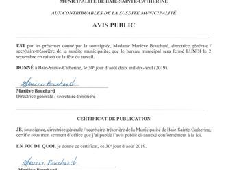 AVIS PUBLIC - Fermeture du bureau municipal - Fête du travail