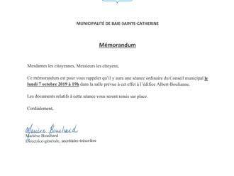Mémorandum - Séance du Conseil municipal - 7 octobre 2019