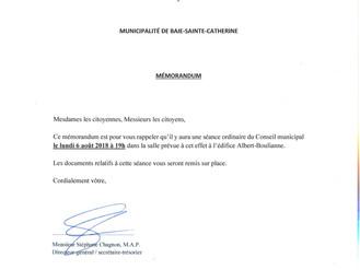 AVIS DE CONVOCATION - Conseil municipal - Assemblée publique Août 2018