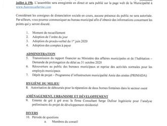 Séance ordinaire du Conseil municipal - 6 juillet 2020