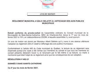 Avis de motion et dépôt de projet règlement # 200-21 - Affichage des avis publics municipaux