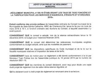 PROJET NO P-005- RÈGLEMENT MUNICIPAL # 185-19 ÉTABLISSANT LES TAUX DE TAXE FONCIÈRE ET LA TARIFICATI