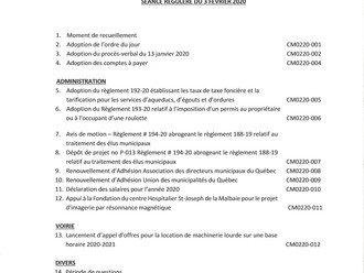 Ordre du jour - Séance ordinaire du Conseil municipal - 3 février 2020