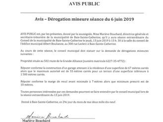 Avis Public - Dérogation mineure - Séance du 6 juin 2019