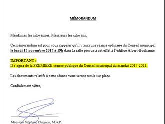 AVIS DE CONVOCATION - Conseil municipal - Assemblée publique de novembre 2017