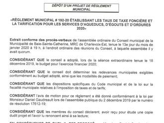 Dépôt d'un projet de règlement municipal - Taux de taxe foncière et tarification des services 20