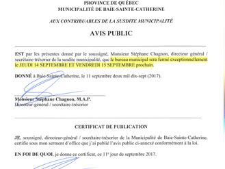 AVIS PUBLIC - FERMETURE EXCEPTIONNELLE DU BUREAU MUNICIPAL BSC