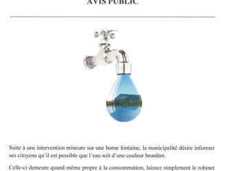 Avis aux usagers du réseau d'eau potable
