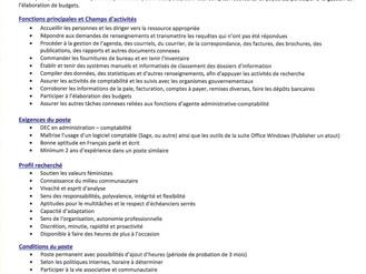 Offre d'emploi - Centre Femmes aux Plurielles - La Malbaie