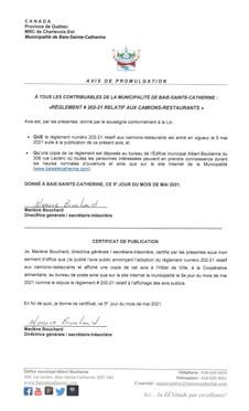 AVIS PUBLIC- PROMULGATION DU RÈGLEMENT 202-21 RELATIF AUX CAMIONS-RESTAURANTS
