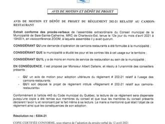 Avis de motion et dépôt de projet du règlement 202-21 relatif aux Camions-Restaurants
