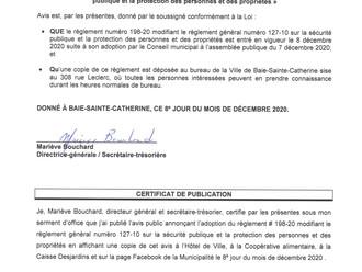 Avis de promulgation - Certificat de publication