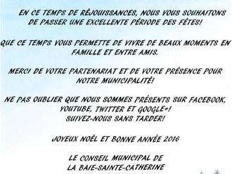 Voeux des Fêtes de la Municipalité de la Baie-Sainte-Catherine