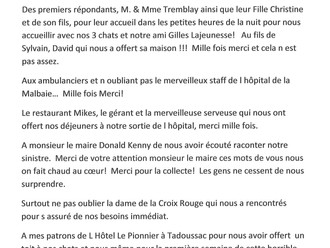 Message de remerciement aux citoyens de Baie-Sainte-Catherine