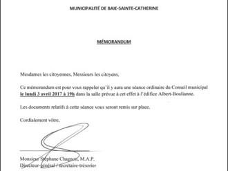 AVIS DE CONVOCATION - Conseil municipal - Assemblée avril 2017