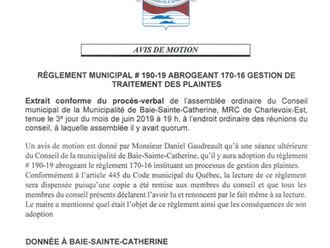 AVIS DE MOTION - Règlement municipal #190-19 abrogeant 170-16 - Gestion de traitement des plaintes
