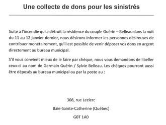 Collecte de dons pour les sinistrés