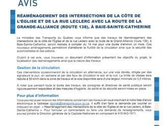 Informations relatives aux travaux du MTQ pour le réaménagement des intersections de la côte de l'Ég