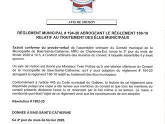AVIS DE MOTION - Règlement relatif au traitement des élus municipaux