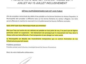 AVIS PUBLIC - INSPECTION DES DÉBITS DES BORNES FONTAINES - BIEN LIRE SVP!