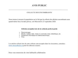COLLECTE DES ENCOMBRANTS - 23 SEPTEMBRE 2020
