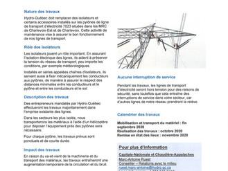 INFORMATION - Travaux sur les lignes électrique - Hydro-Québec