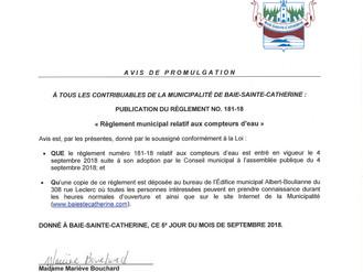 Avis de promulgation: Publication du Règlement # 181-18 relatif aux compteurs d'eau