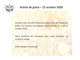 AVIS PUBLIC - Fermeture du bureau Municipal - 12 octobre 2020