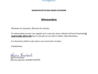 Mémorandum - Séance du Conseil municipal - 8 juillet 2019