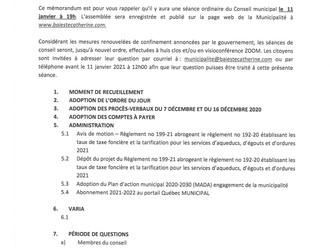 Avis public - Séance ordinaire de conseil 11 janvier 2021