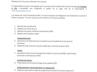 Ordre du jour - Séance du Conseil Municipal - 5 octobre 2020