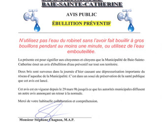 AVIS PUBLIC - Ébullition préventif de l'eau distribuée dans le réseau d'aqueduc