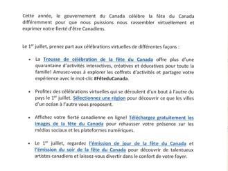 Célébrations virtuelles pour la Fête du Canada